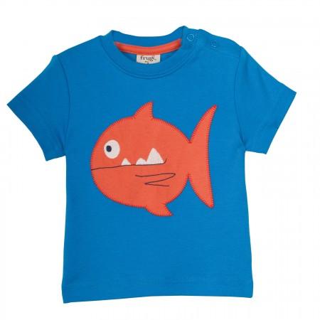 Frugi Little Creature Applique T-shirt - Diver Blue/Fish