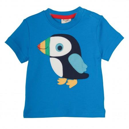 Frugi Little Creature Applique T-shirt - Diver Blue/Puffin