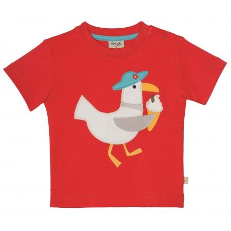 Frugi Little Creature Applique T-shirt - Tomato/Seagull