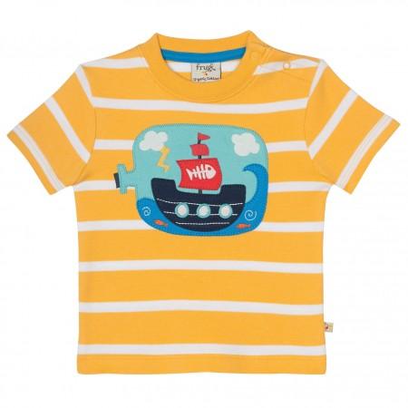 Frugi Little Fal Applique T-shirt - Bumble Bee Breton/Boat