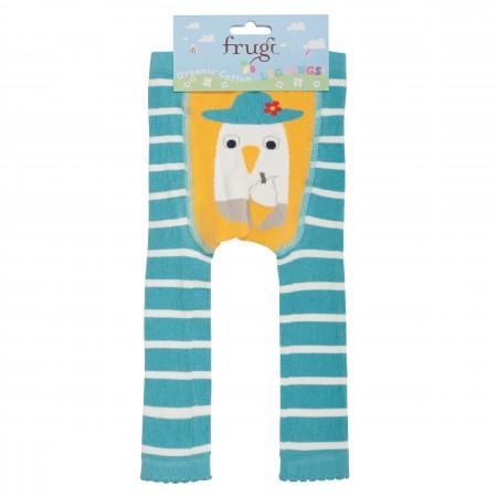 Frugi Little Knitted Leggings - Aqua Breton/Seagull