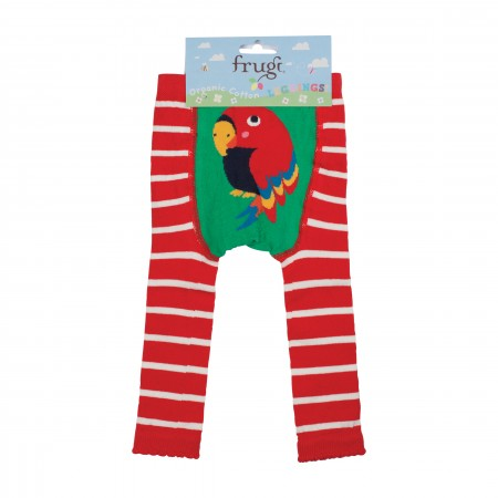 Frugi Little Knitted Leggings - Tomato Breton/Parrot