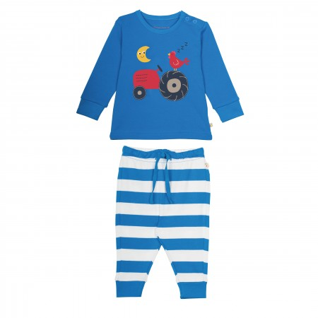Frugi Little Long John PJs Tractor