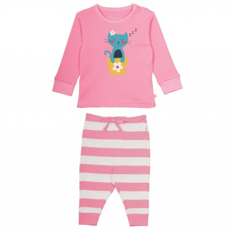 Frugi Little Long John PJs Cat