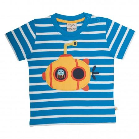 Frugi Little Polkerris Applique T-Shirt - Blue Breton/Sub