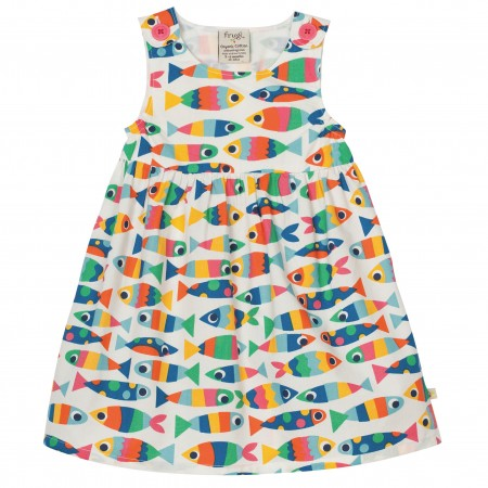 Frugi Little Pretty Party Dress - Rainbow Fish