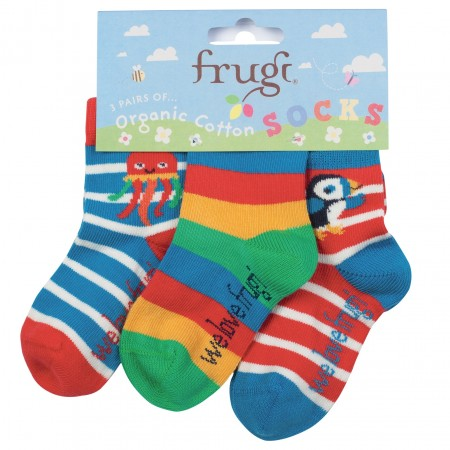 Frugi Little Socks 3-Pack - Puffin/Jellyfish