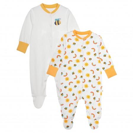 Frugi Lovely Babygrow 2 Pack - Sunny Buzzy Bee
