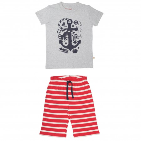 Frugi Perran PJs - Grey Marl/Anchor