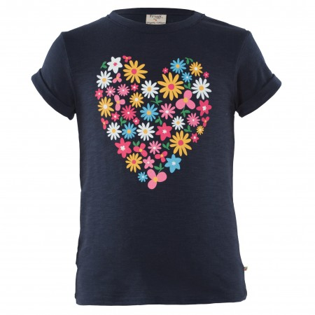 Frugi Praa Printed T-shirt - Navy/Heart