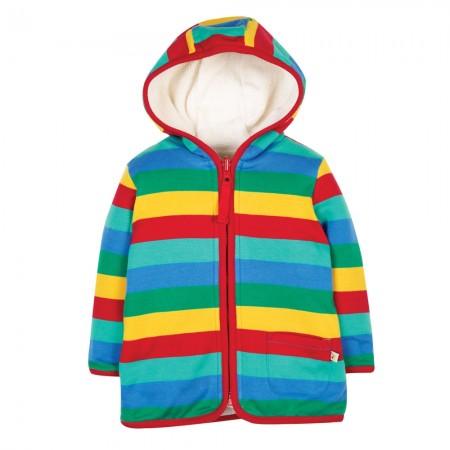 Frugi Rainbow Stripe Reversible Snuggle Jacket