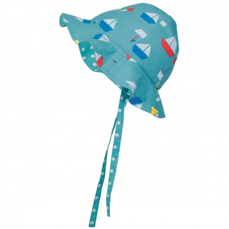 Frugi Reversible Ditsy Hat - Aqua Sailboats