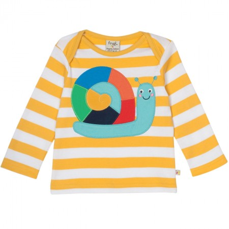 Frugi Bobby Top Bee Stripe Rainbow Snail