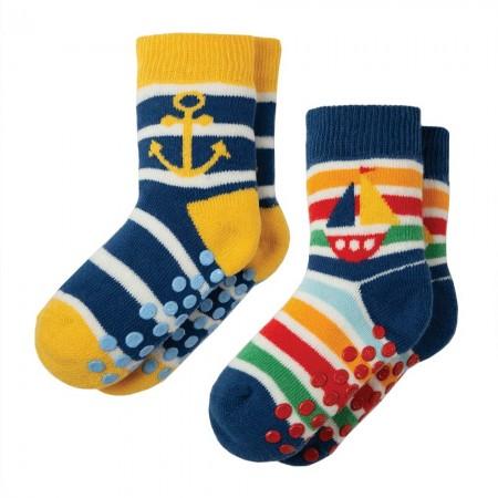 Frugi Boat Grippy Socks x 2