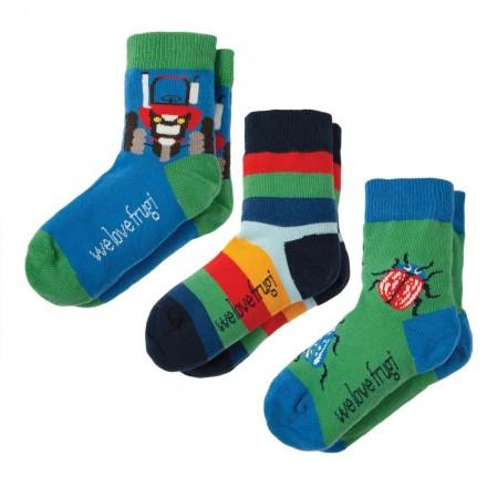 Frugi Tractor Rock My Socks x3
