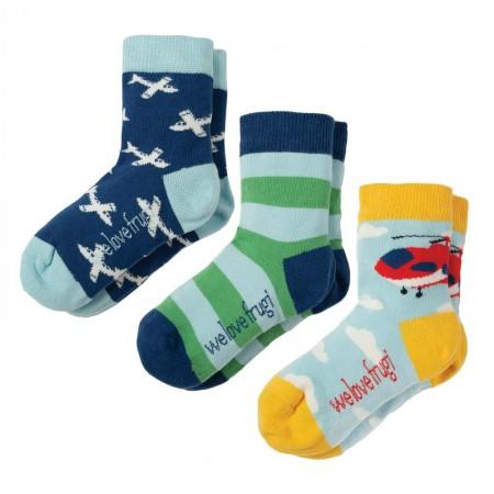 Frugi Plane Rock My Socks Plane x3
