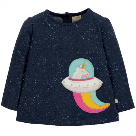 Frugi Space Blue Unicorn Mabel Applique Top