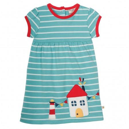 Frugi Summer Ruby Dress - Aqua Stripe/Fishing Village