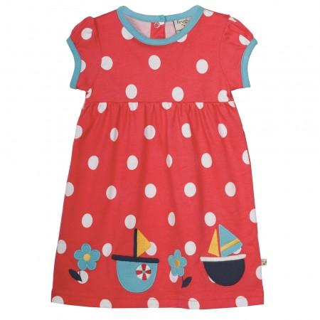 Frugi Summer Ruby Dress - Tomato Spot/Boat