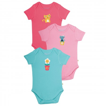Frugi Super Special Body 3 Pack - Cat Friends