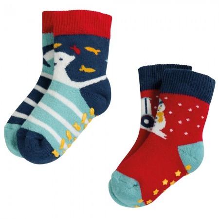 Frugi Tractor Grippy Socks 2 Pack