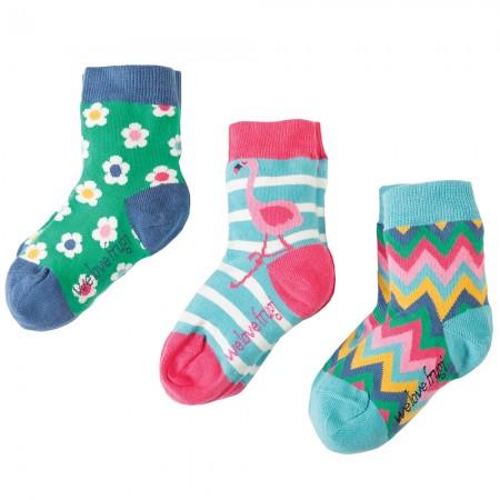 Frugi Flamingo Susie Socks 3-Pack