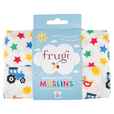 Frugi Stars & Tractors Lovely Muslins x2