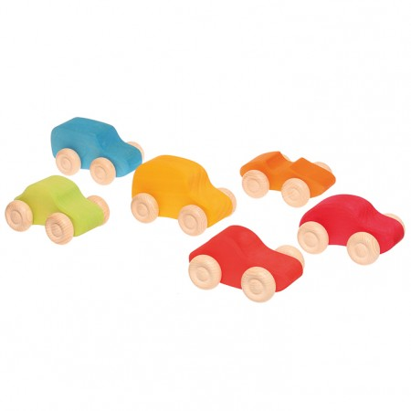 Grimm's 6 Coloured Wooden Cars