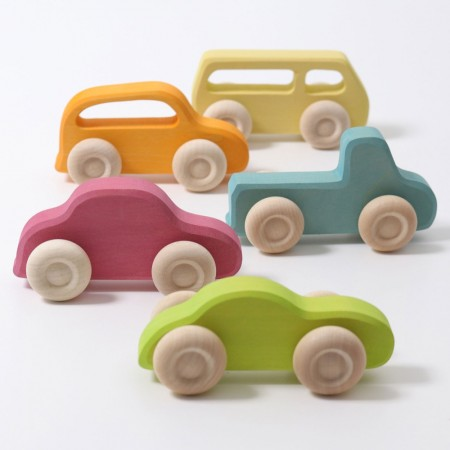 Grimm's Slim Wooden Cars Set