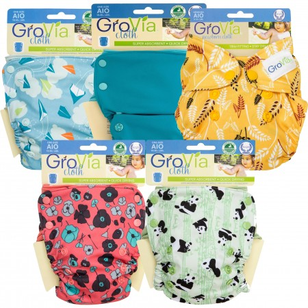 GroVia AIO Nappy - 5 Pack