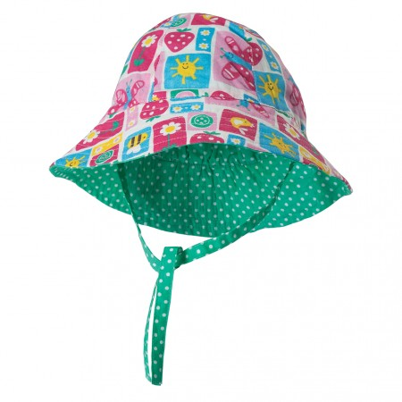 Frugi Strawberry Patchwork Reversible Hat