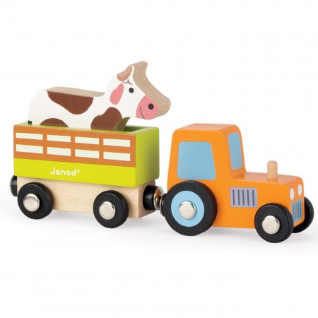 Janod Tractor Trailer & Cow