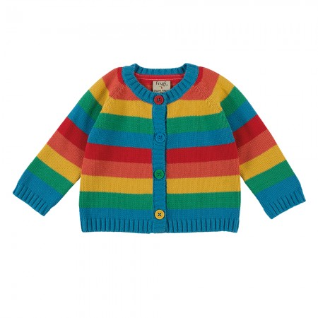 Frugi Little Happy Day Rainbow Cardigan