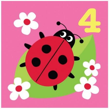 Toby Tiger 4th Birthday Ladybird Card