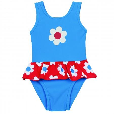 Frugi Little Sally Swimsuit - Diver Blue/Daisy