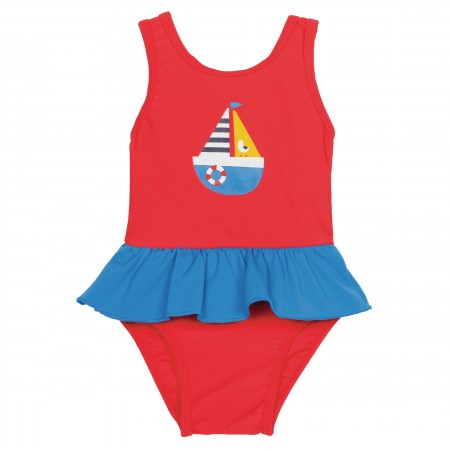 Frugi Little Sally Swimsuit - Tomato/Sailboat