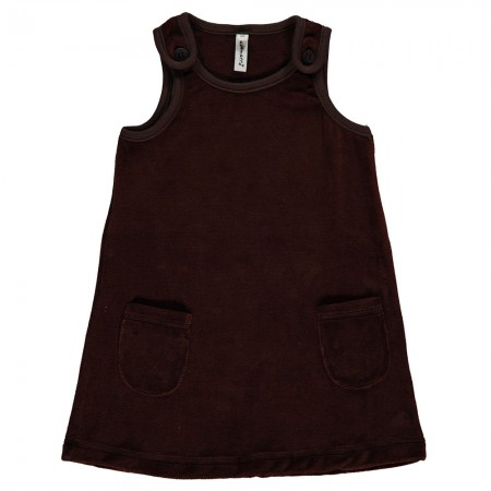 Maxomorra Dark Brown Velour Dress With Pockets