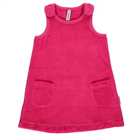 Maxomorra Cerise Pink Velour Dress With Pockets