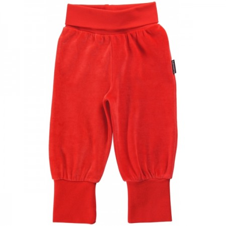 Maxomorra Red Velour Rib Pants