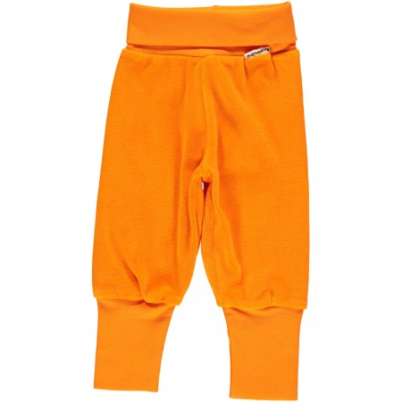 Maxomorra Orange Velour Rib Pants