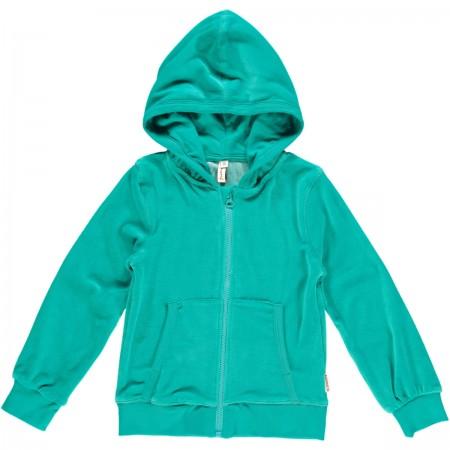 Maxomorra Turquoise Velour Zip Hoody