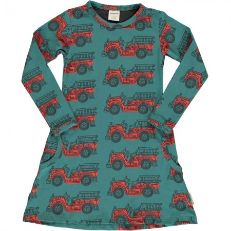 Maxomorra Vintage Fire Truck LS Dress
