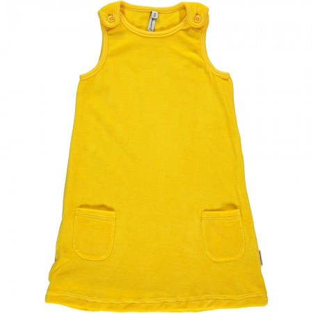 Maxomorra Yellow Velour Dress With Pockets