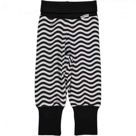 Maxomorra Black & White Waves Rib Pants