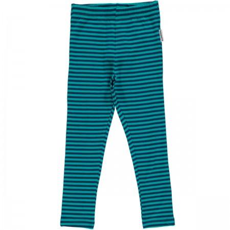 Maxomorra Blue & Turquoise Stripe Leggings