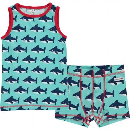 Maxomorra Shark Boxers & Vest Set
