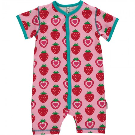 Maxomorra Strawberry Shortie Romper