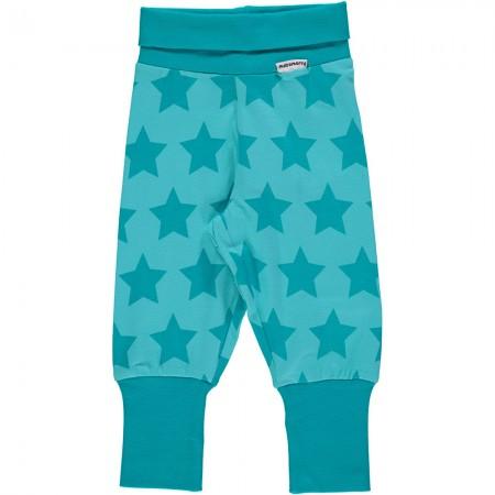 Maxomorra Turquoise Stars Rib Pants
