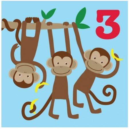 Toby Tiger 3rd Birthday Monkey Card