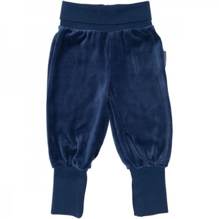 Maxomorra Navy Blue Velour Rib Pants